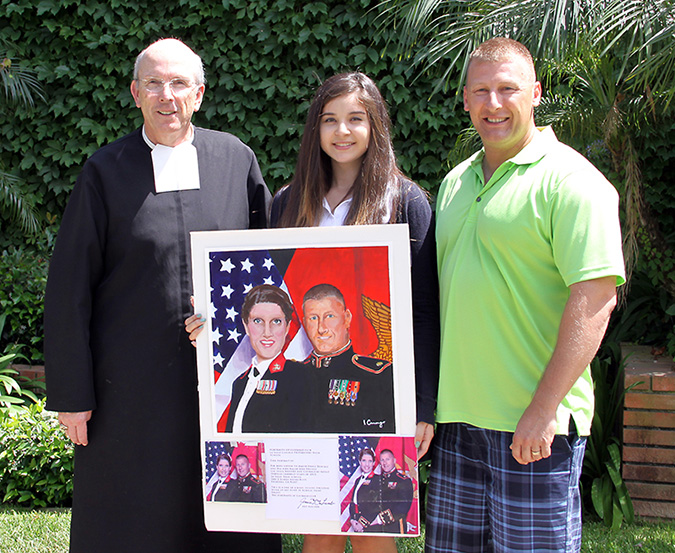 Principal Brother Christopher Brady, Isabella Camargo, and Major David Denial