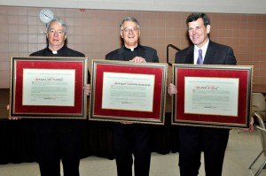 Msgr. John McArthur, Msgr. Val Handwerker, and Joe Birch with their Affiliation certificates