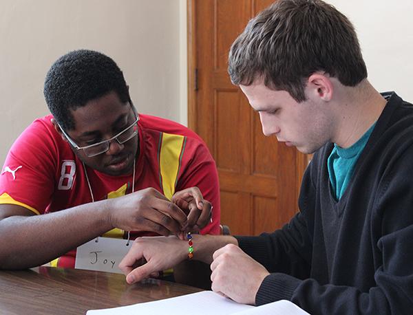 Prayer beads, (L to R) Francis Adu and Luke Koski
