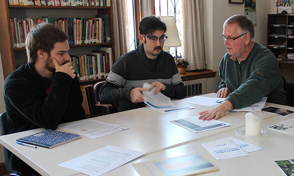 Discussion, (L to R) Tom Iven, Spencer Macklin, Bro. Edward Shields, FSC