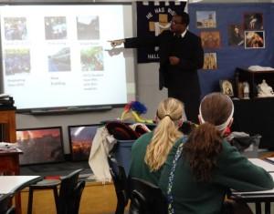 Brother Getachew Nadew talks with O'Hara students