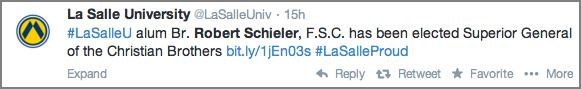 La Salle University Tweet
