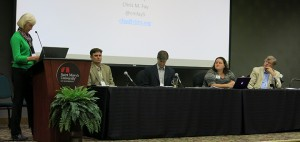 Panelists Chris Fay, Phil Pusateri, Jolleen Wagner and Bill Wolff, led by Dr. Sue Hines