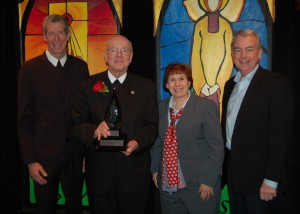 From left, Midwest District Visitor Brother Larry Schatz, Brother James Gaffney, Christian Brothers Conference Executive Director Dr. Margaret McCarty, General Councilor Brother Timothy Coldwell