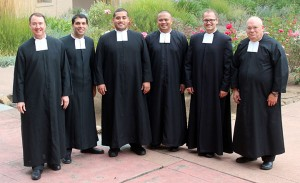 Brother Kevin Slate, at left, is pictured with novices in August 2013 and former sub-director Brother Philip Johnson.