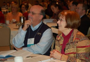 Then-General Councilor Brother Robert Schieler, FSC, and Dr. Margaret McCarty enjoy a session at the Huether Lasallian Conference in 2012.