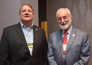 From left, Steve Crisman, senior vice president for advancement at Christian Brothers University (CBU) in Memphis, Tennessee, and chair of the pre-conference session, stands with Dick Gadomski, CBU alumnus and longtime CBU donor, who was the principal underwriter of the pre-conference session.