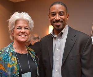 From left, Patti Callahan, director of advancement at Christian Brothers Academy in Syracuse, New York, and Peter Barber, executive vice president of Lipman Hearne, which sponsored the welcome reception.