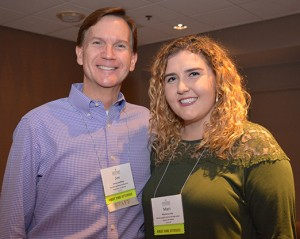 Jim Lindsay, director of administration for Christian Brothers Conference, and Mari Irby, Bishop Loughlin Memorial High School, attend the first-time attendee social.